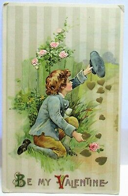 1910 Postcard Be My Valentine, Boy Holding Up Hat, Gathering Golden Hearts