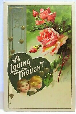 1910 John Winsch Postcard Loving Thought,Girls In Heart, Pink Roses