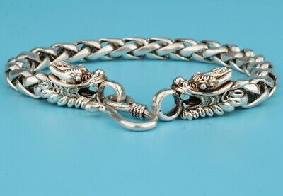 China Tibet Silver Bracelet Sacred Dragon Mascot Decoration Gift Colle Old