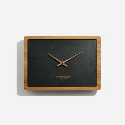 Modern Art Deco Stylish Carbon Rectangular and Solid Wood Wall Clock - Copper