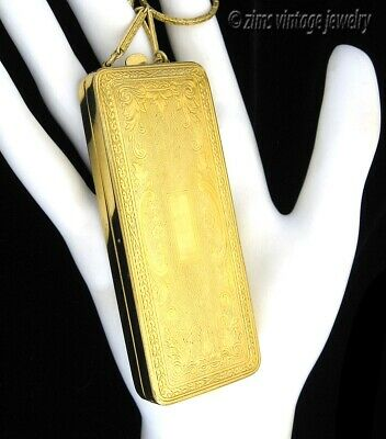 Antique Du Barry ART DECO Gold plate rouge Dance COMPACT Chatelaine finger purse