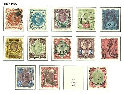 Lot:33752  GB QV  1887-1900 Jubilee Issue  1/2d to 1s