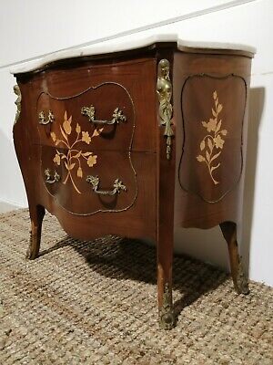 Antique style stunning Louis XV walnut chest of drawers serpentine commode gilt
