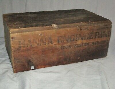Antique Wooden Crate HANNAH ENGINEERING WORKS Chicago IL Vintage  Shipping Box