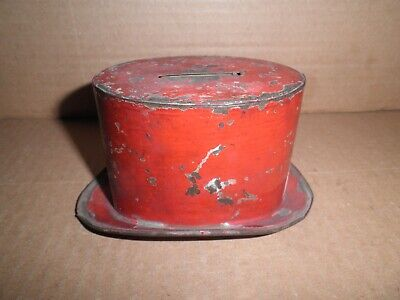 Neat old original early tin Top Hat still penny bank c. 1890's