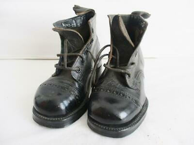 Antique Pair Of Childrens Black Leather Lace Up Boots Leather Sole Hobnail Type