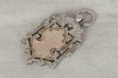 A Superb Antique Solid Silver Gold Shield Edwardian Watch Chain Fob Medal 1902.
