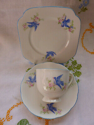 Vintage English Roslyn China Tea Trio ~ Blue Birds ~ Cup, Saucer, Plate