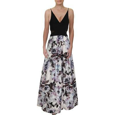 Xscape Womens B/W Floral Cut-Out Evening Formal Dress Gown 10 BHFO 6202