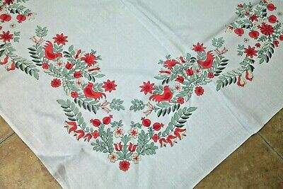 Vintage Tablecloth Birds Flowers
