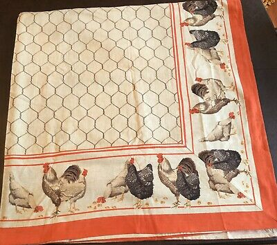 New! Tablecloth Chickens Roosters Fabric Le Telerie Toscane Cotton Italy 60X90