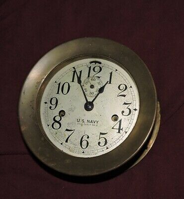Old Brass Seth Thomas Us Navy Deck Clock No 3 Working