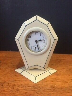 Antique 1920's  New Haven Pyralin celluloid bed side /desk clock  Art Deco