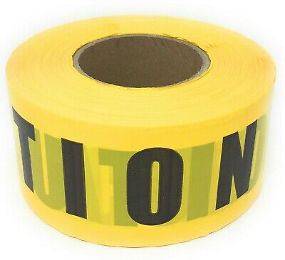 """""""CAUTION"""" Yellow Tape with Black Letters 3""""X1000'   Barricade Tape"""