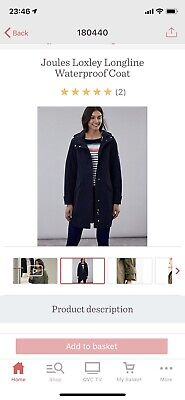 BNWT Joules Loxley Longline Waterproof Coat UK 20 Marine Navy