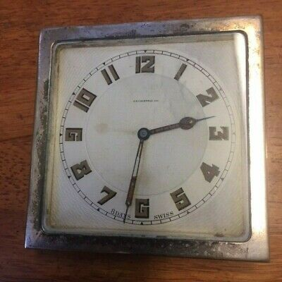 Antique J E Caldwell silver plated 8 day time only travel clock Working .