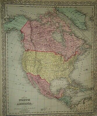 Vintage Dated 1860 DESILVER MAP ~ NORTH AMERICA Old Antique & Authentic