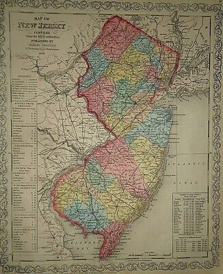 Vintage Dated 1860 DESILVER MAP ~ NEW JERSEY Old Antique & Authentic Atlas Map