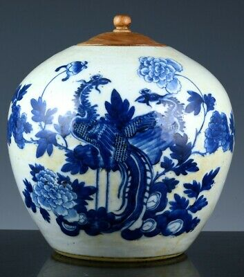 Fine Large 19Thc Chinese Blue & White Phoenix Bird Landscape Lidded Jar Vase