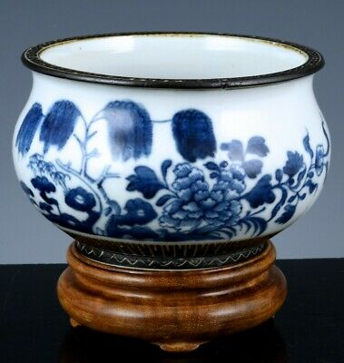 Finely Painted 19Thc Chinese Blue White Scenic Porcelain Censer Bowl With Stand