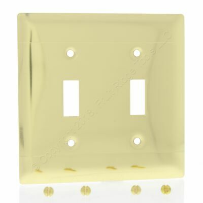 P&S Polished Solid Brass 2-Gang Toggle Switch Wallplate Cover LINED SB2-PBD