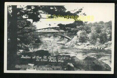 Rppc St Croix Falls Wi Wisconsin View Of Steel Arch Bridge Over River Old Real P
