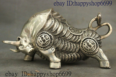 Old Chinese Dyansty Palace Silver Feng shui Wealth Ox Bull Oxen Coin Ruyi Statue
