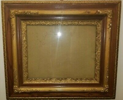 """Antique """"Double Oak Triple Gesso"""" Carved & Gilded Frame - Made In NYC circa 1880"""