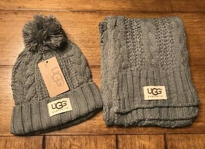 UGG Australia Women's Beanie and Scarf with Tags- FREE SHIPPING- Gray