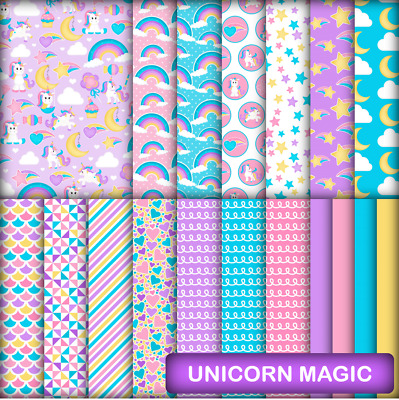 UNICORN MAGIC SCRAPBOOK / CRAFT PAPER - 18 x A4 pages