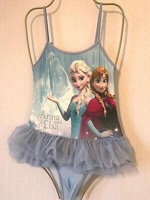 Girls Blue Mix DISNEY Frozen Swimsuit Age 7-8 Years - Anna Elsa Costume Frill