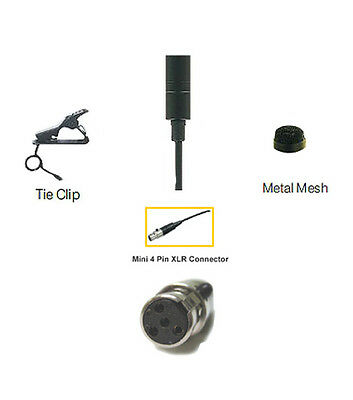 Lapel Mic Lavalier Tie Clip Compatible with Shure Wireless Mic LX1 BLX PGX TA4-F