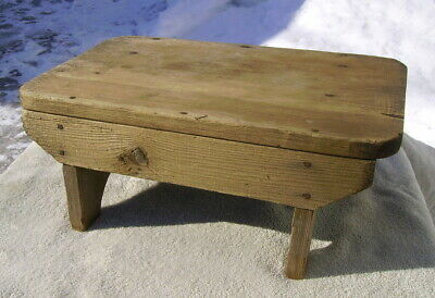 vintage wooden step stool bench milking seat weathered farm rustic plant stand