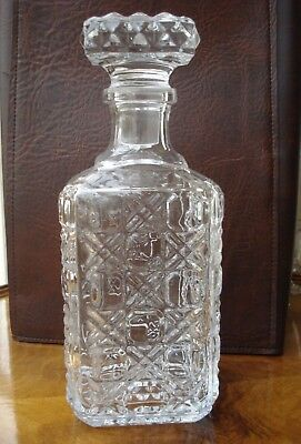 1x CUT GLASS CRYSTAL DECANTER FOR BRANDY, WHISKY, PORT, SHERRY OR WINE