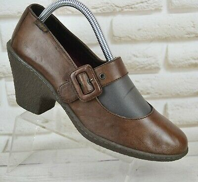 CAMPER Brown Leather Womens Casual Heels Mary Jane Comfort Shoes Size 7 UK 40 EU