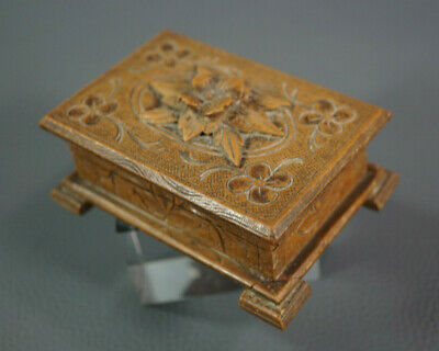 Antique Wooden Black Forest Austrian Folk Art EDELWEISS Jewelry Trinket Box Case