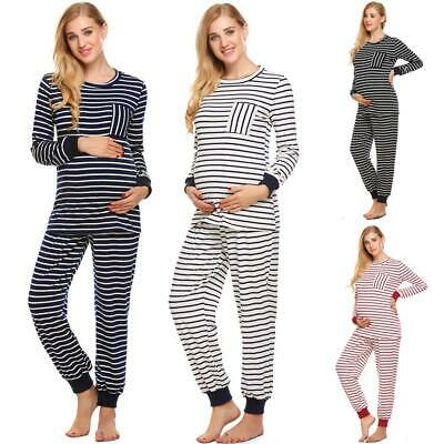 Maternity Pajamas Set Thermal Underwear Striped Long Sleeve Top and EH7E