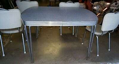 """MID CENTURY MODERN CHROME TUBE FORMICA 48"""" x 35""""  KITCHEN TABLE & FOUR CHAIRS"""