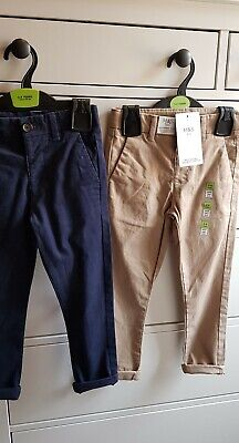 2 x Pairs Of Boys Chino Trousers Navy & Stone BNWT 3-4 Years Adjustable Waist
