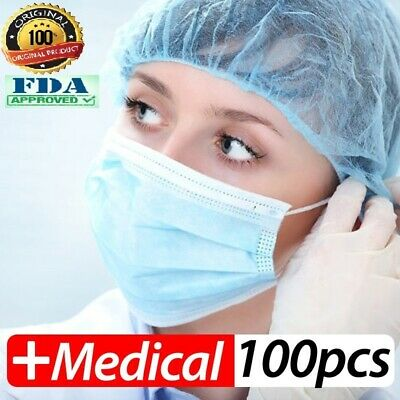 100 PCS Disposable Face Mask Surgical Medical Dental Industrial 3-Ply Safe High