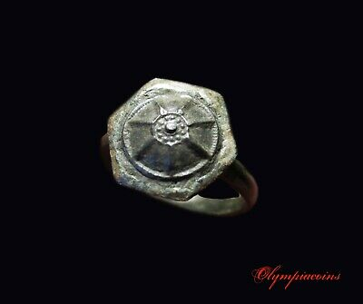 ** AMAZING  ** Ancient Roman Silvered Bronze ring ** MACEDONIAN SHIELD   **