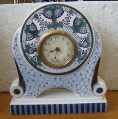 Gorgeous hand painted German Art Deco china cased mantel clock Working