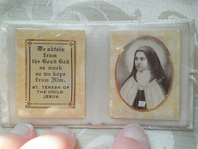 OLD Vintage St Therese of Lisieux Cloth Relic Purse Wallet