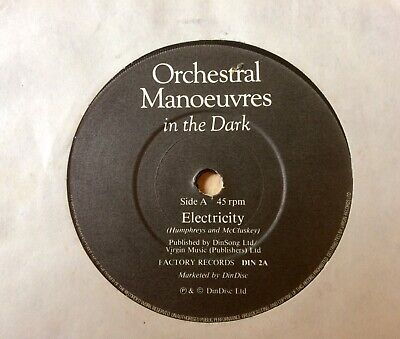 "OMD Orchestral Manoeuvres In The Dark: Electricity 7"". DinDisc A4 B3 synth"