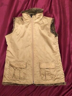 Girls Winter GAP Kids Reversible Faux Fur Body warmer Waist Coat Gilet Size 13XL