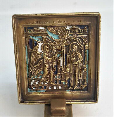 Russian orthodox bronze icon The Annunciation. Enameled.