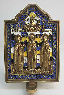 Russian orthodox bronze icon. Selected Saint Healers. Enameled.