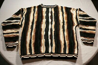 Vintage Bergati Sweater 90s Biggie Hip Hop Textured Multi Color 2XL Cable Knit