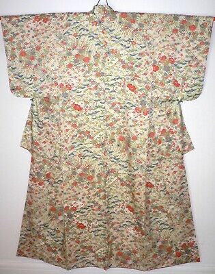 Rare Vintage, Lovely Ivory Silk Komon Kimono, Colourful Flower Design Nr Mint