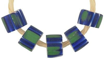Antique chevron beads 4 layers old Venetian drawn glass African trade striped